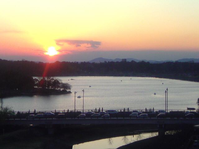 千波湖の夕焼け