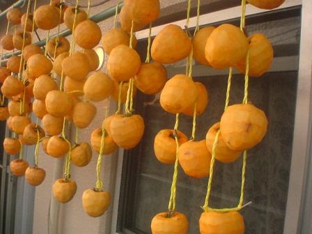 干された渋柿
